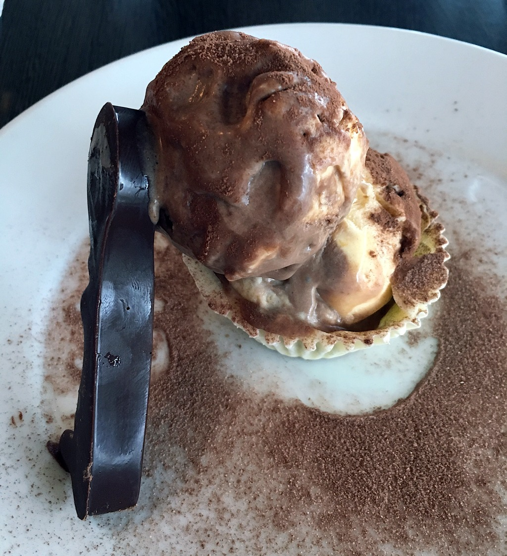 Tiramisu Semifreddo in a White Chocolate Cup & Dark Chocolate Spoon